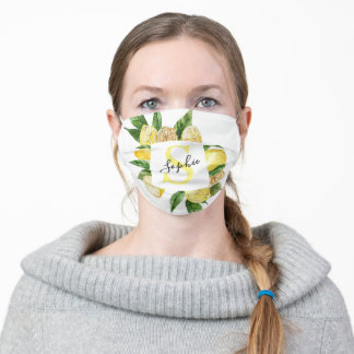 Modern Yellow Lemons Frame & Leaves With Name Adult Cloth Face Mask