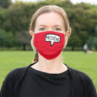 MOIEN! Luxembourgish Greeting Speech Bubble Adult Cloth Face Mask