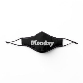 Monday Black and Gray Text Template Premium Face Mask