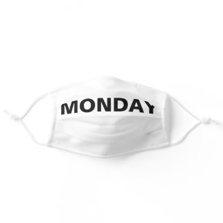 Monday Solid Plain Black and White Color Adult Cloth Face Mask