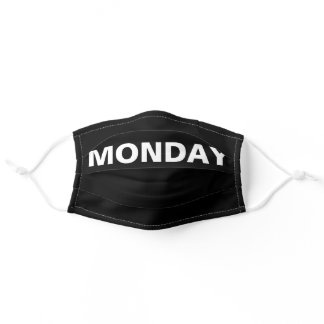Monday Solid Plain Black and White Color Cloth Fac Adult Cloth Face Mask