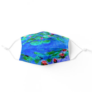 Monet - Water Lilies (red) Adult Cloth Face Mask