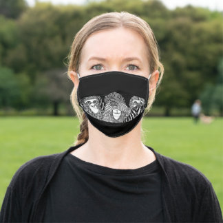 Monkey design of Hear, Speak See No Evil on black Adult Cloth Face Mask