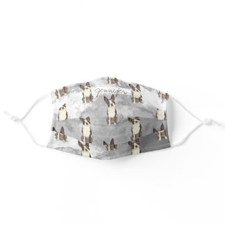 Monochromic grey and adorable terrier dog washable adult cloth face mask