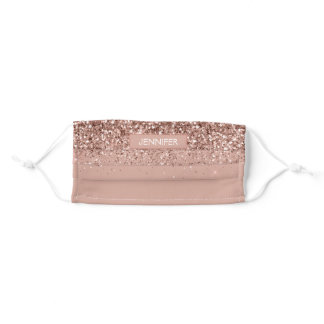 Monogram Blush Pink Rose Gold Glitter & Sparkle Adult Cloth Face Mask