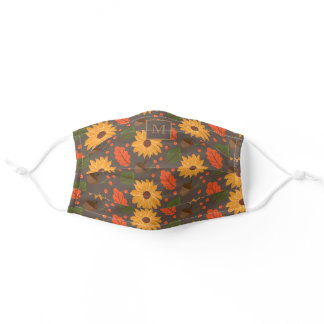 Monogram Fall Sunflower Leaves Acorn Pattern Adult Cloth Face Mask