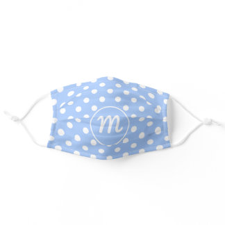 Monogram Fifties Retro Polka Dots on Baby Blue Adult Cloth Face Mask