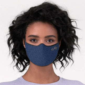 Monogram Floral Pattern Cute Modern Navy Blue Gold Premium Face Mask