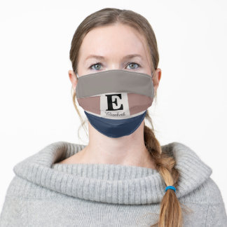 Monogram Grey Blue Pink Adult Cloth Face Mask