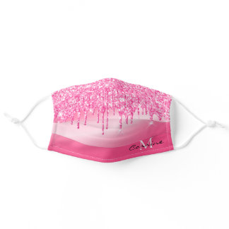 Monogram Hot Pink Dripping Glitter Metallic Custom Adult Cloth Face Mask