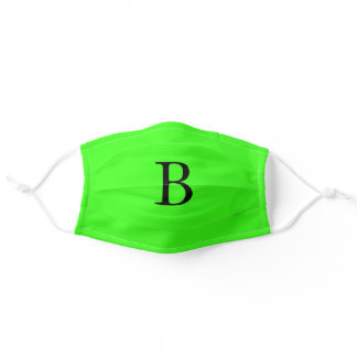 Monogram Initials Neon Green Bright Colorful Cool Adult Cloth Face Mask
