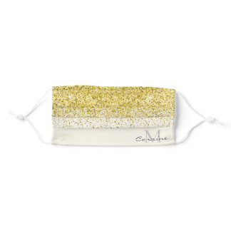 Monogram Metallic Gold Ombre Glitter Cream Fabric Adult Cloth Face Mask