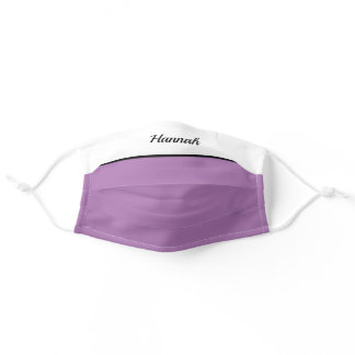 Monogram Modern Purple Name Adult Cloth Face Mask