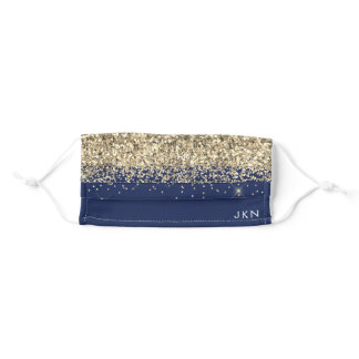 Monogram Navy Blue Elegant Modern Gold Glitter Adult Cloth Face Mask