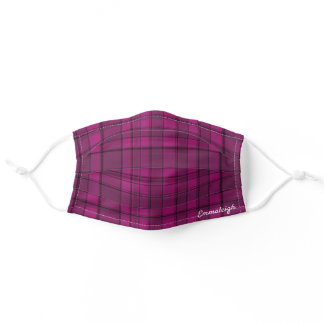 Monogram Pink and Blue Plaid Adult Cloth Face Mask