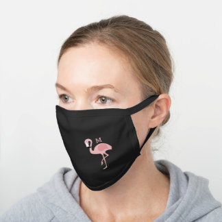 monogram pink flamingo black cotton face mask