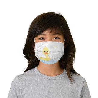 Monogram Rubber Ducky - Glitter Duck and Bubbles Kids' Cloth Face Mask