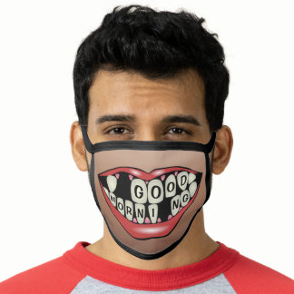 Monogram Smile Missing Teeth Funny Mouth Humor Face Mask