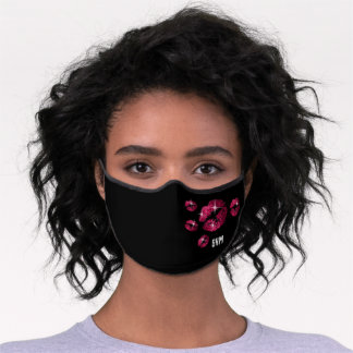 Monogram with Hot Pink Lips Premium Face Mask