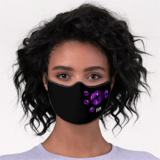 Monogram with Purple Lips Premium Face Mask