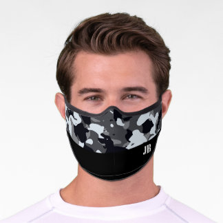 Monogrammed black and white camo premium face mask