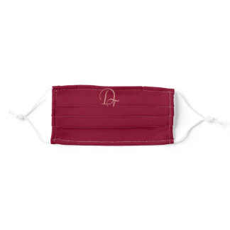 Monogrammed - burgundy color adult cloth face mask