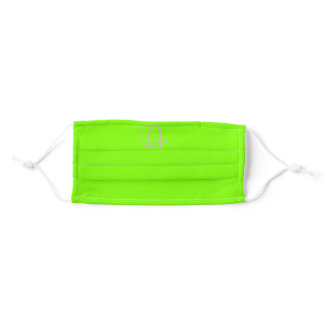 Monogrammed -  chartreuse green adult cloth face mask