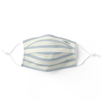 Monogrammed Classic Blue & White Nautical Adult Cloth Face Mask