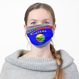 Montana Flag w/ Stars Stripes on Cool Grey Adult Cloth Face Mask