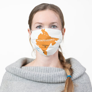 Montenegro Map Orange Adult Cloth Face Mask