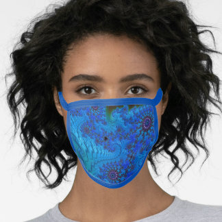Moody Blue Groovy Fractal Mandala and Spirals Face Mask