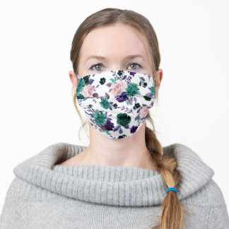 Moody Boho | Eggplant Plum Purple Floral Pattern Adult Cloth Face Mask