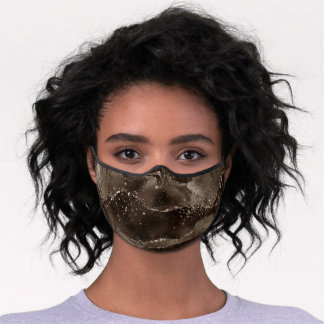 Moody Bronze Agate Golden Sepia Taupe Brown Premium Face Mask