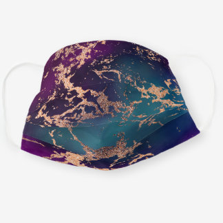 Moody Marble | Luxurious Purple Teal Rose Gold Cloth Face Mask