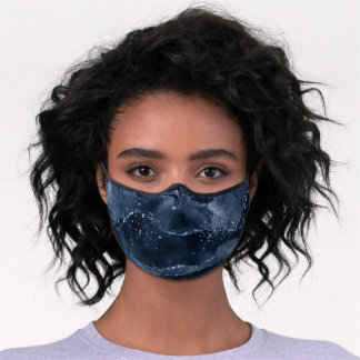 Moody Navy Agate | Dusty Royal Blue Jewel Tone Premium Face Mask