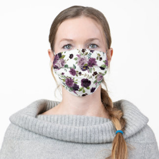 Moody Passion | Dramatic Purple Floral Pattern Adult Cloth Face Mask