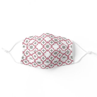 Moorish Pattern in Pink & Gray on White Adult Cloth Face Mask