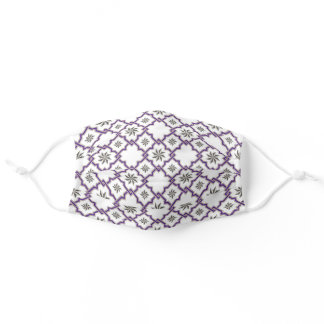 Moorish Pattern - Purple & Gray on White Adult Cloth Face Mask