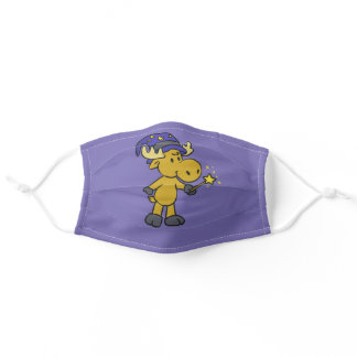 Moose wizard holding a magic wand adult cloth face mask