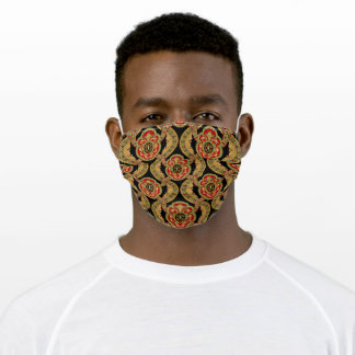 Moroccan Style Pattern Gold Black Red Adult Cloth Face Mask