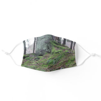 Mossy Tree Stump in the Forest Adult Cloth Face Mask
