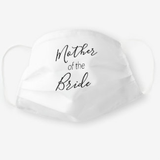 Mother of the Bride Calligraphy Simple White Black Cloth Face Mask
