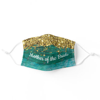 Mother of the Bride Gold Glitter Turquoise Adult Cloth Face Mask