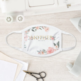 Mother of the Bride Wedding Watercolor Roses White Face Mask