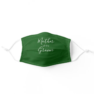 Mother of the Groom Calligraphy Emerald Green Adult Cloth Face Mask