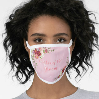 Mother of the Groom Pink and Burgundy Flowers Face Mask