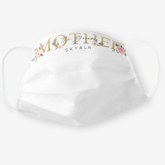 Mother of the Groom Wedding Watercolor Roses White Cloth Face Mask