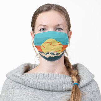 Mount Fuji Retro Style Mountain Sunset in Japan Adult Cloth Face Mask