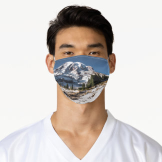 Mount Rainier Snowy Mountain Blue Sky Sun Seattle Adult Cloth Face Mask