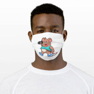 Mouse at Bodybuilding with Dumbbell Adult Cloth Face Mask